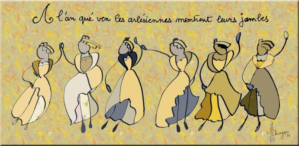 Journal au fil du Rhône arlésiennes dessin inspiré de Lelee