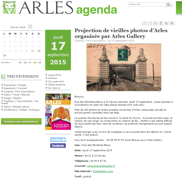 projection le 17 septembre 2015 Arles Gallery